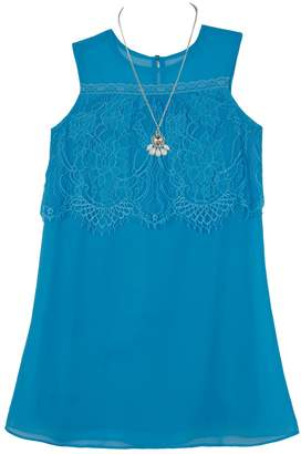 Amy Byer Iz Girls 7-16 IZ Sleeveless Lace Popover Dress with Necklace