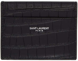 Saint Laurent Black Croc Logo Card Holder