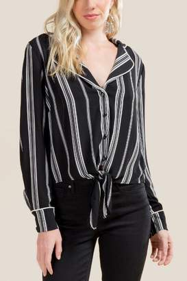 Eloise Vintage Collar PJ Blouse - Black/White