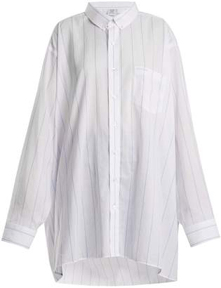 Vetements Patch-pocket striped cotton shirt
