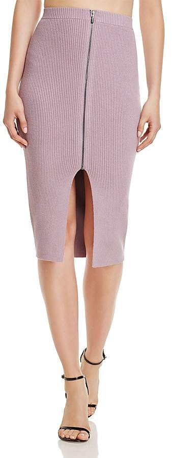 GUESS Zip-Front Rib-Knit Midi Skirt