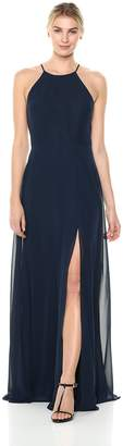 Jenny Yoo Women's Kayla a-Line Halter Chiffon Long Dress