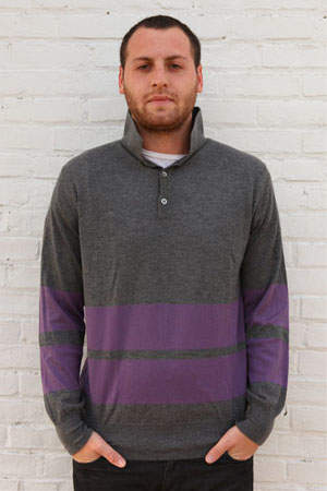 Simon Spurr Cashmere Purple Stripe Long Sleeve Polo