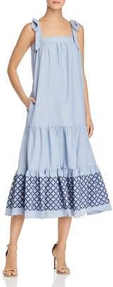 Rebecca Minkoff Lucy Embroidered-Hem Midi Dress