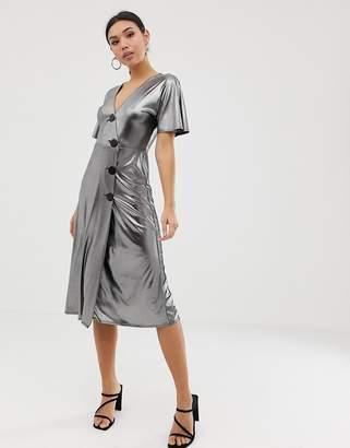 Asos Design DESIGN silver metallic midi tea dress with metal buttons