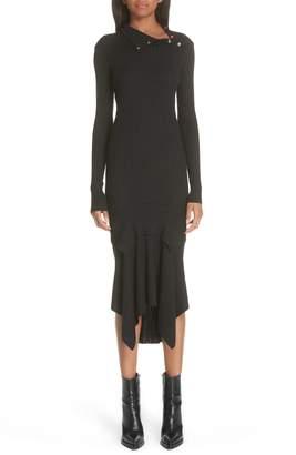 Stella McCartney Snap Neck Rib Knit Sweater Dress