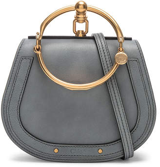 Chloé Small Nile Bracelet Bag Calfskin & Suede in Cloudy Blue   FWRD