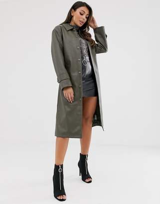 Asos Design DESIGN leather look trench coat in khaki