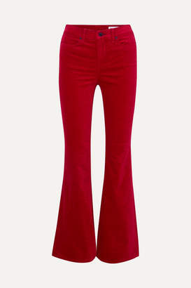 Rag & Bone Bella Velvet Bootcut Pants - Red