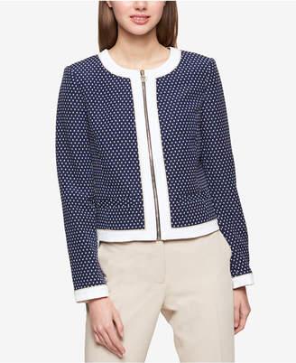 Tommy Hilfiger Dot-Print Colorblocked Zip Front Jacket