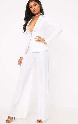 PrettyLittleThing White Wide Leg Suit Trousers