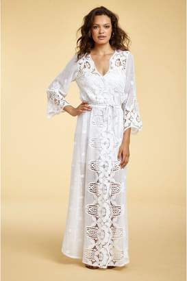Miguelina Lucinda Hibiscus Lace Wrap Coverup - Pure White