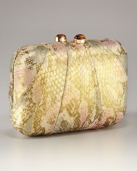 Kotur Morley Snakeskin Gold Mini Box Clutch With Drop In Chain