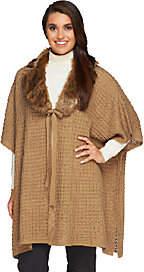 Dennis Basso Regular Sweater Poncho w/Faux Fur