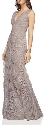 BCBGMAXAZRIA Plunge V-Neck Lace and Ruffle Gown $528 thestylecure.com