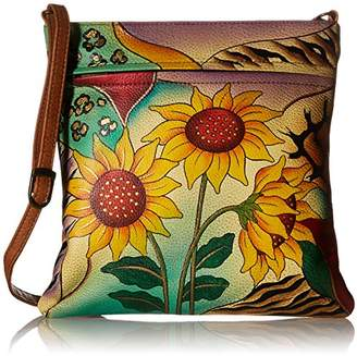 Anuschka Anna by GenuineLeatherSlim Crossbody Bag Hand-Painted Original Artwork