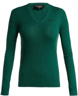Rochas Logo Applique Ribbed Wool Sweater - Womens - Dark Green
