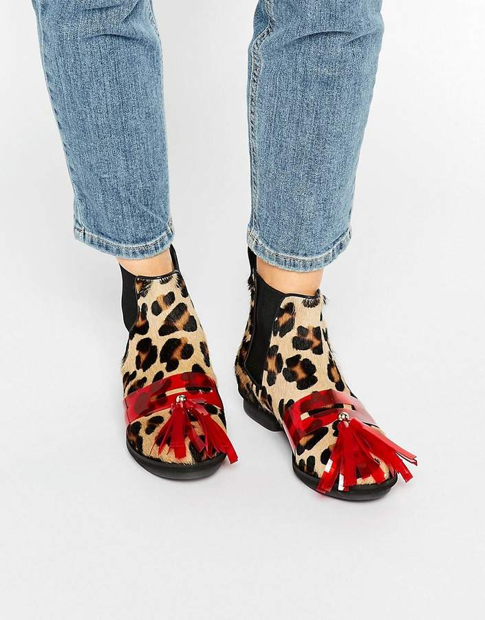 House of Holland Leopard Print Tassel Chelsea Boots