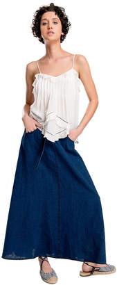 Max Studio indigo linen long skirt