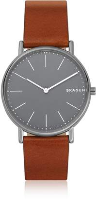 Skagen Signatur Slim Titanium and Cognac Leather Men's Watch