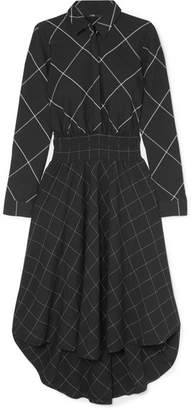 Maje Asymmetric Checked Twill Midi Dress - Black