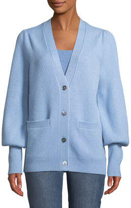 Co V-Neck Button-Front Wool-Cashmere Ribbed Cardigan