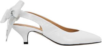 Ganni Sabine Bow Tie White Slingback Pumps