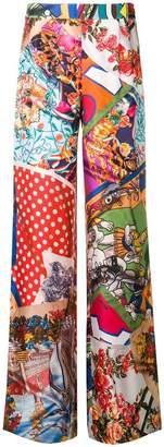 Moschino multi-pattern palazzo trousers