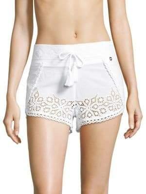 OndadeMar Eyelet Cotton Shorts