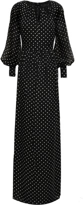 Mikael Aghal Polka-dot Georgette Maxi Dress