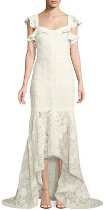 Alexis Zander Lace Flutter-Sleeve Gown