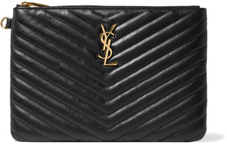 Saint Laurent - Monogramme Quilted Textured-leather Pouch - Black $695 thestylecure.com