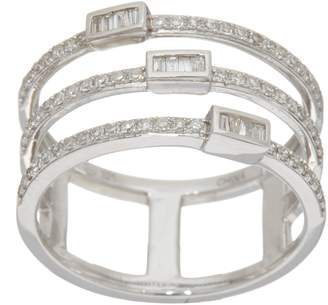 Affinity Diamond Jewelry Baguette & Round Multi-Row Ring, Sterling 1/3 cttw by Affinity
