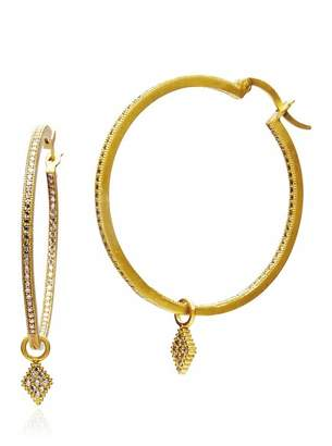 Freida Rothman 14K Yellow Gold Plated Sterling Silver Pave CZ Harlequin Charm 30mm Hoop Earrings