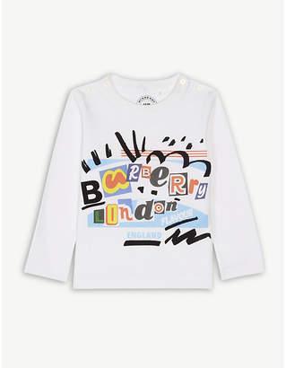 Burberry Logo print long-sleeved cotton top 6-36 months