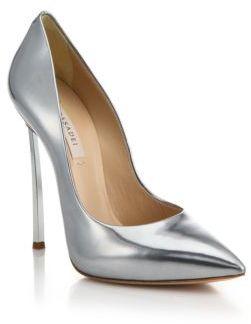 Casadei Metallic Leather Blade-Heel Pumps $750 thestylecure.com