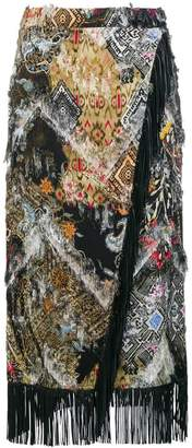 Etro fringed wrap skirt
