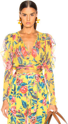 Leone We Are we are Jasmin Wrap Top in Yellow Rose Floral | FWRD