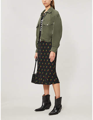 The Kooples Cropped slouchy cotton jacket