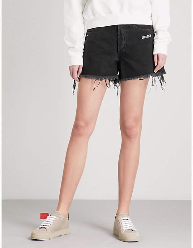 Distressed high-rise dneim shorts