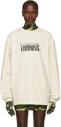 White Hi I Dont Care Inside Out Sweatshirt
