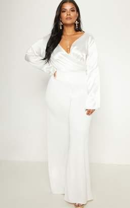 PrettyLittleThing Plus White Satin Plunge Bodysuit