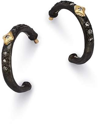 Armenta 18K Yellow Gold & Blackened Sterling Silver Old World Crivelli Champagne Diamond Hoop Earrings