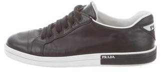 Prada 2018 Leather Round-Toe Low-Top Sneakers