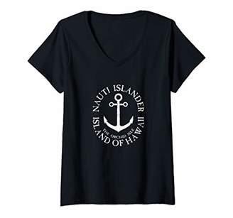 Womens Nauti Islander Big Island Hawaii Nautical Distressed V-Neck T-Shirt