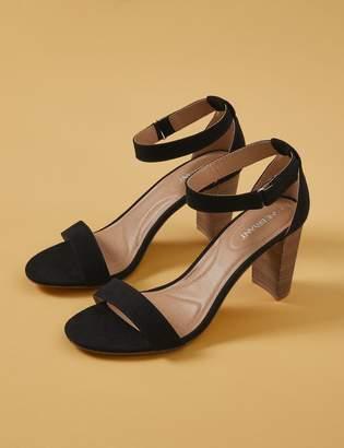 Faux Suede & Wood Block Heel Sandal