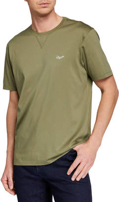 Ermenegildo Zegna Men's Embroidered-Logo T-Shirt, Dark Green