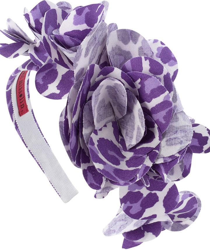 Purple Leopard Print Flower Headband, Benoit Missolin