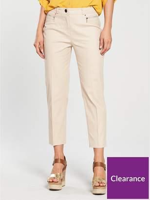 Wallis Cotton Stretch Crop Trouser - Stone