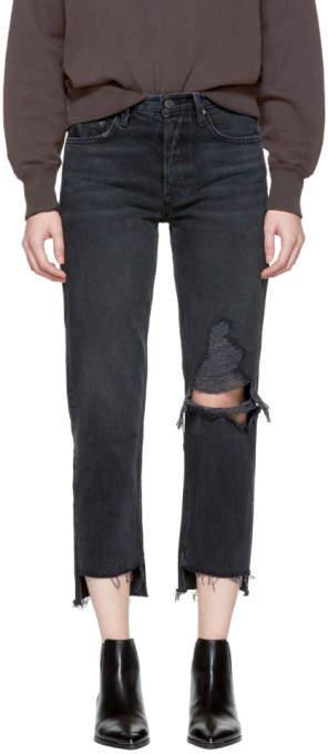 Black Helena Crop Knee Rip Jeans